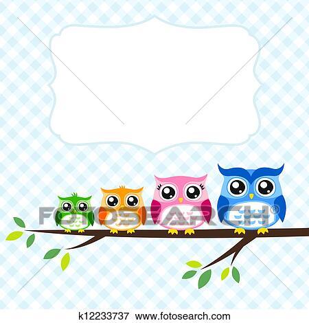 clip art of owl family spring invitation card k12233737 search rh fotosearch com invitation clip art borders free clipart invitation repas