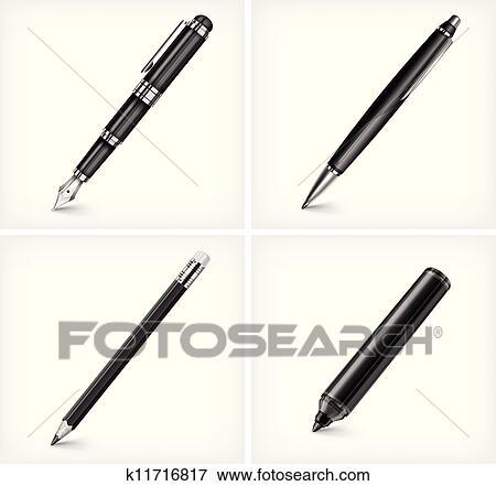 clip art of pen pencil highlighter fountain pen k11716817 rh fotosearch com fountain pen nib clipart