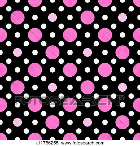 Black Pink And White Polka Dots