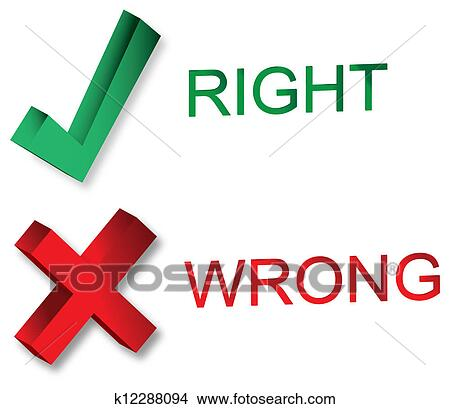 Drawings Of Right And Wrong Symbols K12288094 Search Clip Art