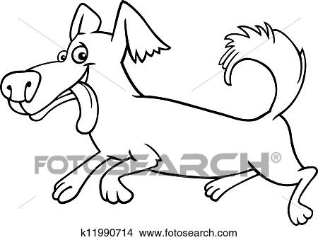 clipart of running little dog cartoon for coloring k11990714 rh fotosearch com dog running image clipart
