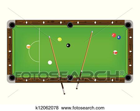 Clip Art Of Vector Illustration A Pool Table With Cues And