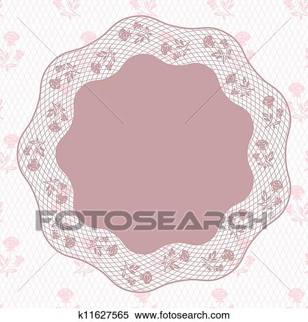 Vintage Lace Background Ornamental Flowers Vector Card