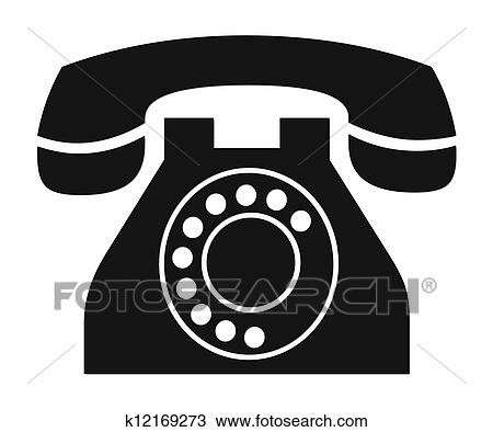 Drawing Of Vintage Phone Clipart K12169273