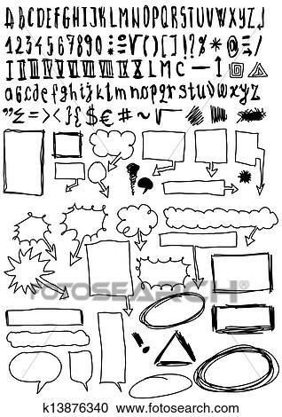 失量图库 - 字体, 同时,, 数字, doodles, 气泡图片