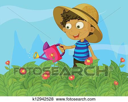 Clip Art Of A Boy Watering The Plants In Garden K12942528