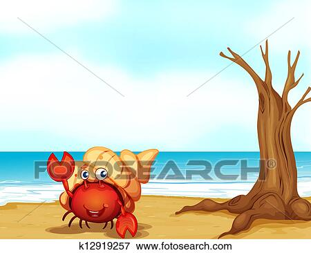 clip art of a crab with a shell at the seashore k12919257 search rh fotosearch com seashell clipart art