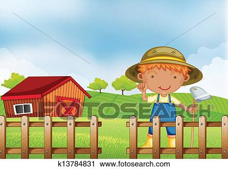 Clipart Of A Farmer Holding Hoe Inside The Wooden Fence With