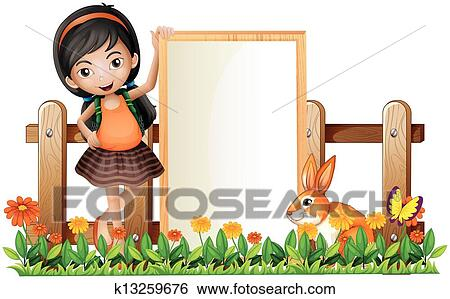 Clip Art Of A Girl Standing Beside An Empty Frame With Bunny