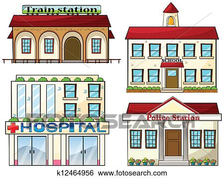 Police station clipart  Clip Art of A train station, a school, a police station and a ...