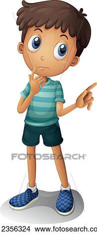 Clipart Of A Young Boy Thinking K12356324
