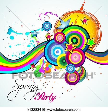 Clip Art Of Abstract Spring Party Flyer K13283416 Search