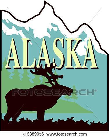 clip art of alaska k13389056 search clipart illustration posters rh fotosearch com clipart alaska outline alaska clipart map