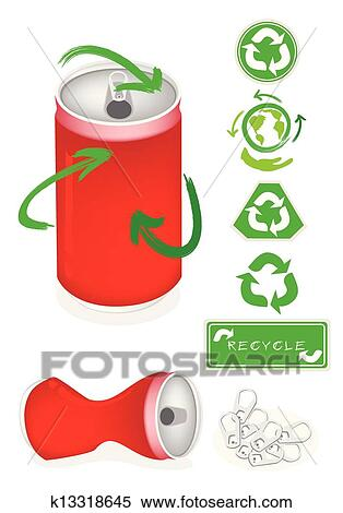 Clipart Of Aluminum Can With Recycle Symbol For Save The World