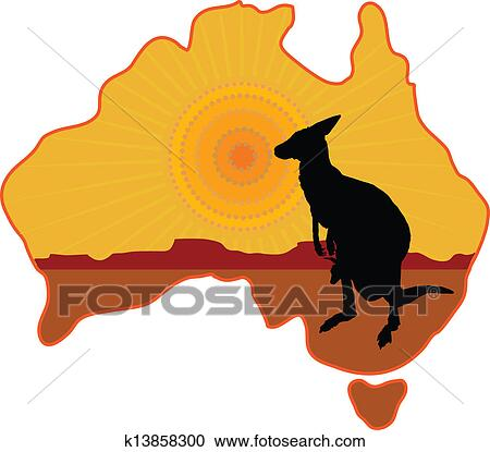 clipart of australia kangaroo k13858300 search clip art rh fotosearch com australia clipart black and white australia clipart map