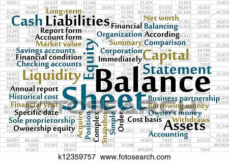 Clip Art Of Balance Sheet K  Search Clipart Illustration