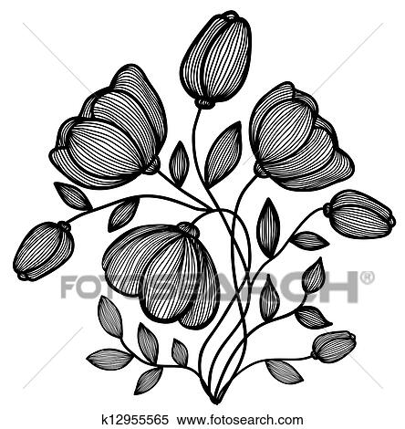 Clipart of beautiful abstract black and white flower of the lines clipart beautiful abstract black and white flower of the lines single isolated mightylinksfo