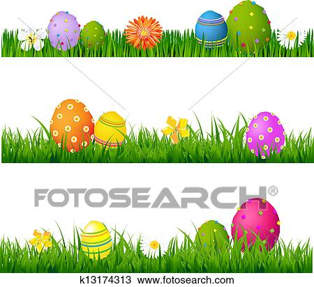 Clipart Of Big Green Grass Set With Flowers And Easter Eggs
