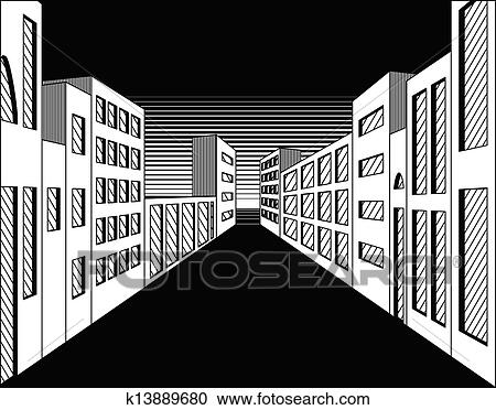 Clipart Of Black And White Night City Street K13889680