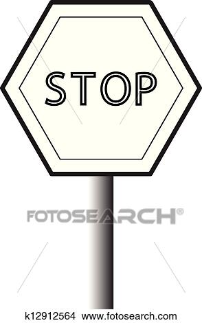 Clipart Of Black And White Traffic Sign K12912564