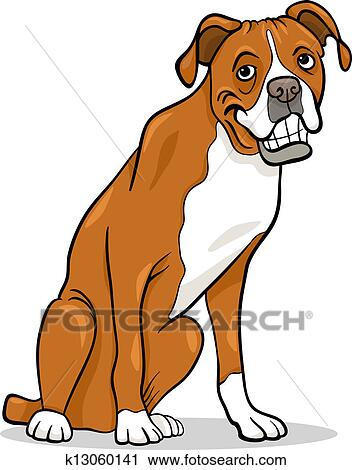clipart of boxer purebred dog cartoon illustration k13060141 rh fotosearch com boxer dog clipart free