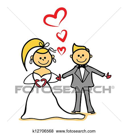 clip art of bride and gloom marriage cartoon character k12706568 rh fotosearch com marriage clip art christian marriage clipart black and white
