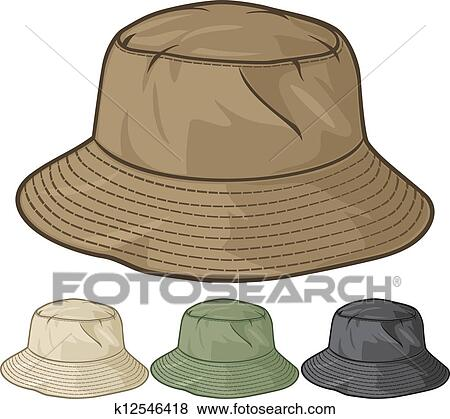 clip art of bucket hat collection k12546418 search clipart rh fotosearch com Fishing Pole Clip Art Fishing Hat Clip Art