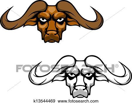 clip art of buffalo head mascot k13544469 search clipart rh fotosearch com