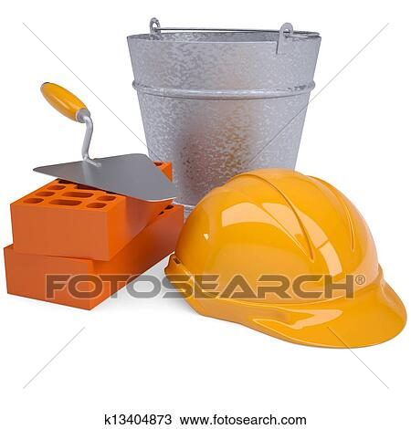 Drawing Of Building Bricks Hard Hat Trowel And A Bucket