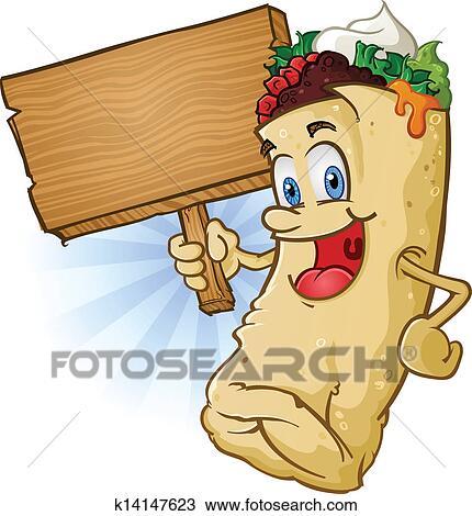 clipart of burrito cartoon holding sign k14147623 search clip art rh fotosearch com mexican burrito clipart burrito clip art free