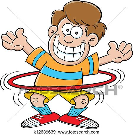 clip art of cartoon boy with a hula hoop k12635639 search clipart rh fotosearch com animated hula hoop clipart Hula Hoop Contest