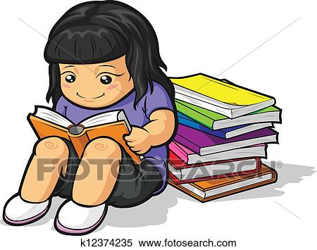 clipart of cartoon of girl student studying k12374235 search rh fotosearch com Studying Clip Art girl studying clipart black and white