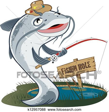 clip art of catfish fisherman k12957088 search clipart rh fotosearch com Catfish Outline Catfish Decals