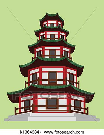 Clip Art Of Chinese Pagoda K13643847