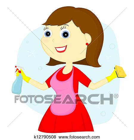 clip art of cleaning lady k12790508 search clipart illustration rh fotosearch com lady cleaner clipart cute cleaning lady clipart