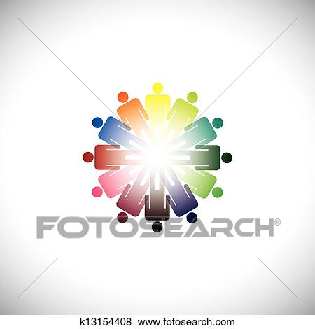 Clip art of colorful abstract illustration of people holding hands clip art colorful abstract illustration of people holding hands together the graphic represents people sciox Images