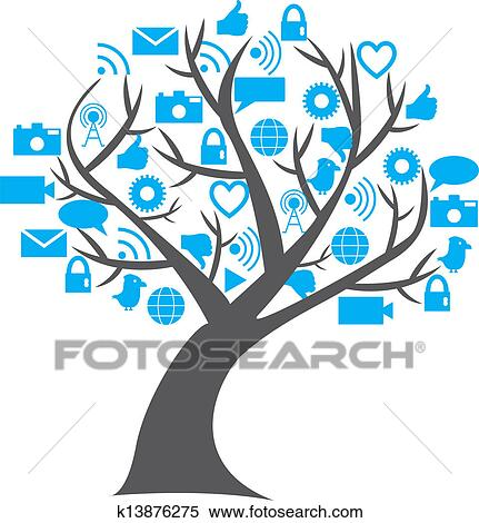 clipart of digital social media tree k13876275 search clip art rh fotosearch com media clipart for powerpoint media clipart black and white