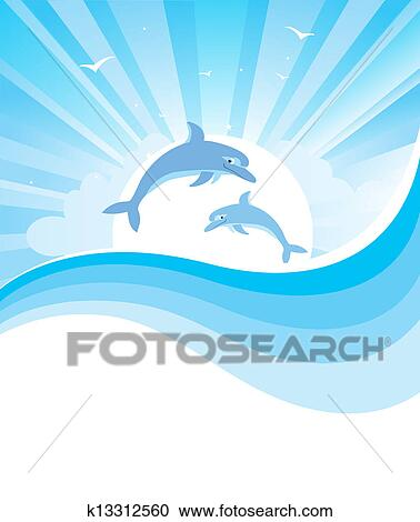 clipart of dolphins in blue sea vector nature seascape with rh fotosearch com seavictory vessel sea victoria swedish crystal vase