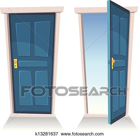 Clip Art Of Doors Closed And Open K13281637