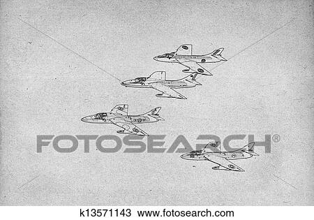 drawing drawing of fighter jets fotosearch search clipart illustration fine art