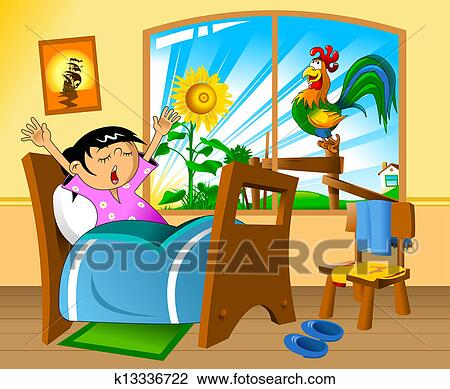 Clip Art Of Early Morning K13336722 Search Clipart