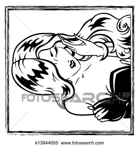 clipart of erotic pin up girl portrait k13944055 search clip art rh fotosearch com Pin Up Girl Silhouette pin up girl clipart
