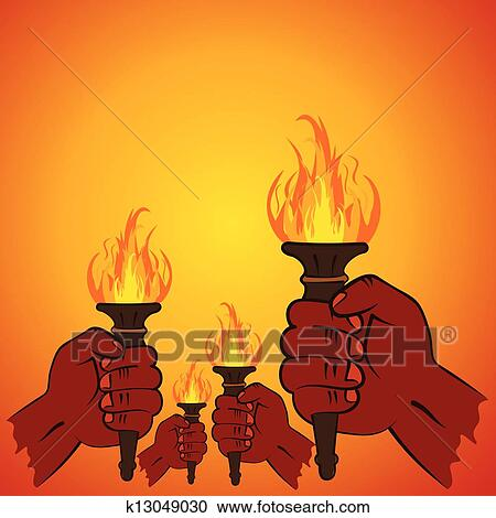 Clipart Of Fire Torch In Every Hand K13049030
