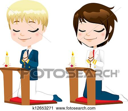 clipart of first communion prayer boys k12653271 search clip art rh fotosearch com picture of boy praying clipart