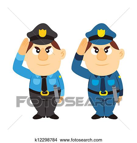 clipart of funny cartoon policeman two colors k12298784 search rh fotosearch com clipart police car clipart police car