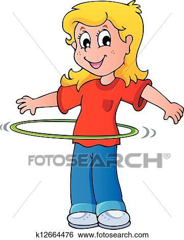 clip art of girl exercise with hula hoop k12664476 search clipart rh fotosearch com hula hoop clip art free hula hoop reifen clipart