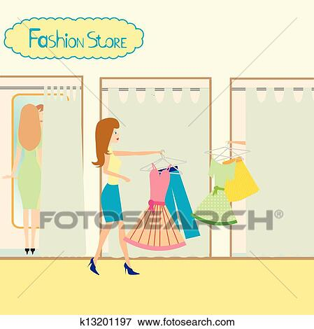 Clip Art Of Girls In A Fitting Room K13201197