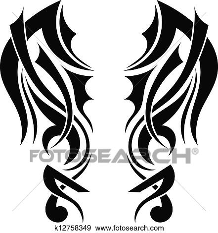 clip art of graphic design tribal tattoo wings k12758349 search rh fotosearch com tribal clip art free tribal clip art starfish