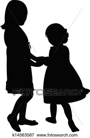 clip art of happy sisters playing k14563587 search clipart rh fotosearch com Black and White Clip Art 4th Grade Apple Clip Art Black and White