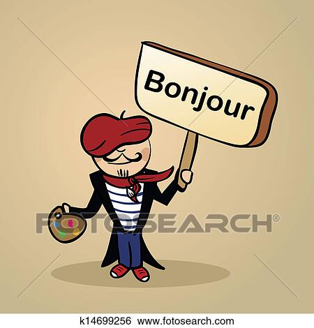 Clip Art Of Hello From France People Design K14699256